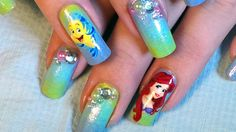 Disney Inspired Nail Art; The Little Mermaid * Ariel & Flounder Tutorial