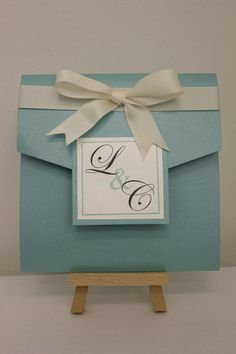 Tiffany's blue handmade pocketfold wedding invitation