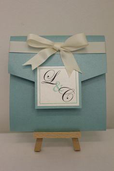 Tiffany's blue handmade pocketfold wedding invitation