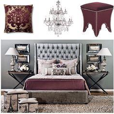 Sliver & Burgundy bedroom