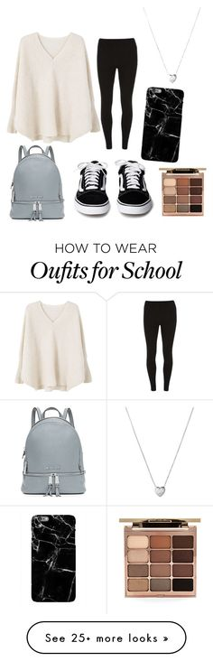 """""""First outfit, just something maybe I'd wear to school"""" by katttw19 on Polyvore featuring MICHAEL Michael Kors, MANGO, Dorothy Perkins, Stila and Links of London"""