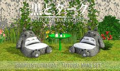 TS3 - Simplestudio404 - Totoro Mini Set ~ Noir and Dark Sims