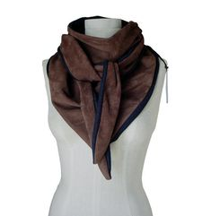 Suede leather scarf with mohair, brown lambskin - product images  of
