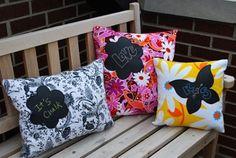 Blackboard fabric design on pillow.  Great teenage gift idea.