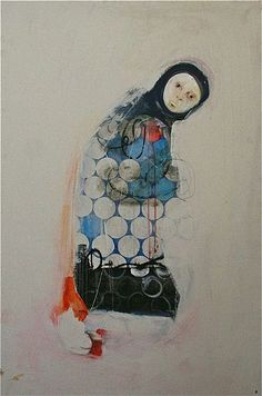 spencer herr, utility (sold).  2011. acrylic, graphite, on birch panel.  48x33 #dots