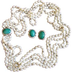 Vintage Four Strand Faux Pearl Necklace and Earring Set offered by 2Hearts Uptown Jewelry and Accessories