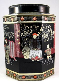 English Tea Tin Caddy Oriental Design Biscuit Tin 1930s Oriental Desig – Antiques And Teacups