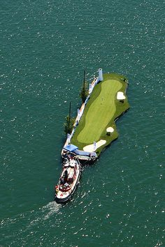 Tug Boat Floating Golf Course, Toronto, Ontario, Canada,