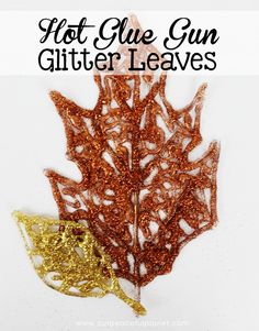 Make these beautiful DIY fall decorations with a glue gun and some glitter! Use the leaves in table settings, wall hangings or any other fall decor item.