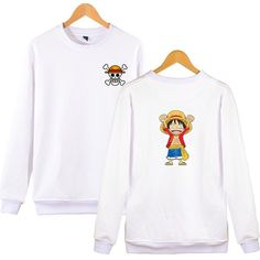 LUFFY CHIBI SWEATSHIRT Printed Sweatshirts, Mens Sweatshirts, Hoodies, Cartoon Outfits, Korean Outfits, Manga, Streetwear Fashion, One Piece, Chibi