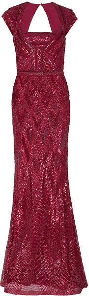 Elie Saab Cap Sleeve Beaded Gown