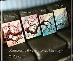 Picture of 4 Piece Painting - a Walk Through the Seasons - DIY Instructables Tutorial 4 Canvas Paintings, Multi Canvas Painting, Multi Canvas Art, 3 Piece Painting, Diy Canvas Art, Diy Painting, Tree Paintings, Knife Painting, Painting Tutorials