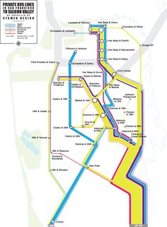Stamen Design's map of private bus lines for the employees of Apple, Google, and other silicon valley giants.
