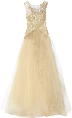 Notte By Marchesa Gold Embellished Tulle Gown