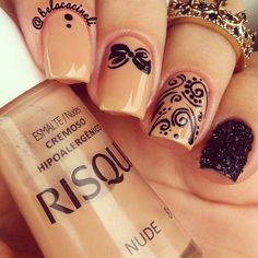 Nude and black nails. Flowers nail art. Lace nail design. Risque Polish. by @belacineli