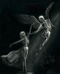 Forbidden Dance by desdainart on DeviantArt Skeleton Love, Skeleton Art, Beautiful Dark Art, Dark Love, Deviantart, Art Sketches, Art Drawings, Angel Illustration, Skull Artwork