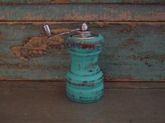 Pepper Grinder Mill Turquoise Distressed Wood Upcycled $10