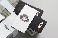 AWPG duplex business cards with gold foil print finish designed by BR/BAUEN.