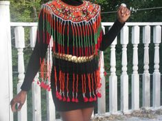 New  Rare African Maasai Masai Beaded Bib Collar wrap necklace TasselsTop S-L