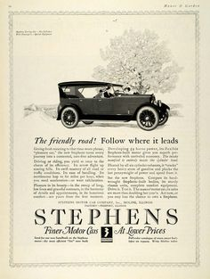 This is an original 1923 black and white print ad for the Stephens Motor Car Company, Incorporated, of Moline, Illinois, with a factory in Freeport, Illinois. This ad features their low-priced finer s
