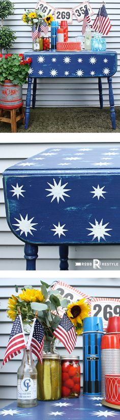 Starry Night Stencil Patriotic Table Makeover for Memorial Day or 4th of July holiday party