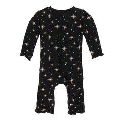 e34e19c4b0b Rose Gold Bright Stars Muffin Ruffle Coverall with Zipper. Bright Stars