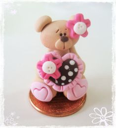 *POLYMER CLAY ~ Valentines Bear with Polka Dot Heart Polymer Clay Charm Bead Scrapbooking Bow Center