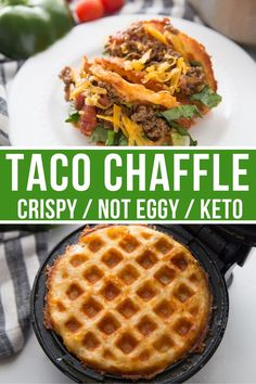 These Crispy Taco Chaffles take taco's on a low carb diet to an entire new level. They are super crispy and not eggy at all while being keto friendly. Low Carb Tacos, Low Carb Diet, Low Carb Food, Ketogenic Recipes, Diet Recipes, Cooking Recipes, Healthy Recipes, Ketogenic Diet, Dessert Recipes