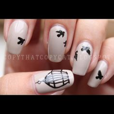Birds and cage nail art