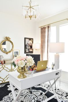 A STUNNING home office with perfect lighting and black white and gold decor and accents. Love the antelope curtains and alabaster white walls that come alive with Soraa Radiant LED light bulbs. A STUNNING home offi Office Interior Design, Office Interiors, Office Designs, Gold Interior, Home Office Space, Office Den, Office Spaces, Blue Office, Office Inspo