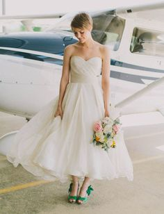 a pretty dress and cute green wedding shoes!