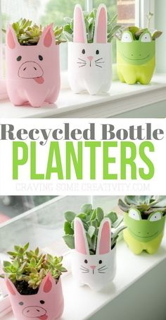 Soda Bottle Animal Planters – Soda Bottle Animal Planters -,Upcycling Bastelprojekte These recycled plastic bottle planters are so adorable and can be self watering planters . They are perfect for a cactus or succulent! Plastic Bottle Planter, Reuse Plastic Bottles, Plastic Bottle Crafts, Diy Bottle, Soda Bottle Crafts, Recycled Bottles, Recycled Planters, Bottle Garden, Milk Jug Crafts