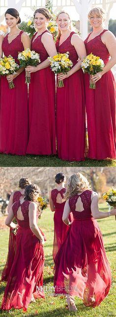 Burgundy Bridesmaid Dresses Long, A Line Prom Dresses For Teens, Lace Formal Evening Dresses V Neck, Chiffon Wedding Party Dresses Elegant Burgundy Bridesmaid Dresses Long, Bridesmaid Dresses Online, Best Prom Dresses, Prom Dresses For Teens, Elegant Prom Dresses, Cheap Prom Dresses, Wedding Party Dresses, Evening Dresses, Raspberry Bridesmaid Dresses