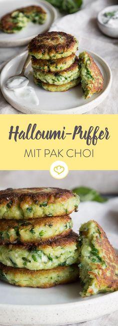 Würzige Halloumi-Puffer mit Pak Choi