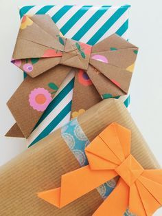 Diy origami bow for super cute gift wrap in orange and blue