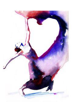 Impression de danseur avec coeur par Cate Parr.  Impression de peinture aquarelle danseuse 11 « x 17 ».  Intitulé - danseuse avec coeur