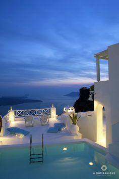 Amazing sunset views from the swimming pool at the On the Rocks Hotel in Santorini