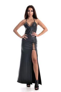 Cut-Out Designs on Top Slit Metal O Rings Long Dress – The Black Room Las Vegas