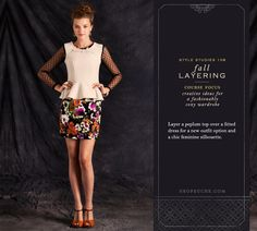 Layer a peplum top over a printed dress for a chic and fitted silhouette. #fall THE SHOES!