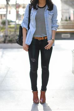 striped tee + ripped skinny jeans #everydaycasual