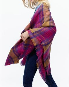Joules HEYFORD Soft Oversized Woven Scarf in Hazel Check