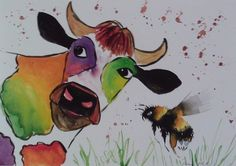 Colourful Cow & Bee 2 Original  watercolour painting size A3  Casimira Mostyn