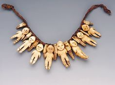 Necklace of ivory figures Nineteenth century Fiji Collected by Sir Arthur Gordon, Lord Stanmore, first Governor of Fiji, in the Museum of Archaeology and Anthropology, Univerisity of Cambridge Tribal Jewelry, Jewelry Art, Beaded Jewelry, Handmade Jewelry, Jewelry Necklaces, Jewelry Design, Bracelets, Western Jewelry, Yoga Jewelry