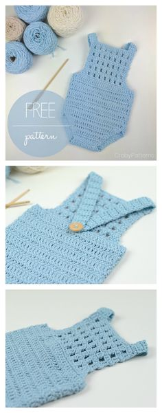 Crochet Baby Patterns Blue Orchid Baby Romper Free Crochet Pattern - Rompers look adorable on any baby or toddler. Here are some Crochet Baby Romper Free Patterns for you if you have little ones in your life. Crochet Romper, Crochet Clothes, Knit Crochet, Diy Clothes, Babies Clothes, Knitted Baby Romper, Crochet Baby Dresses, Crochet Hats, Booties Crochet