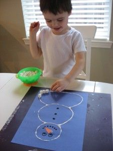 Marshmallow snowman- squeeze a line of glue in a snowman shape and have child stick on marshmallows