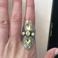Yellow rhinestone statement ring Adjustable size! Jewelry Rings