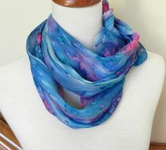 Long silk scarf hand painted deep pink and shades of blue, crepe silk scarf ready to ship, rainy garden window Accessorize Scarves, Sunrise Colors, Gifts For Art Lovers, Garden Windows, French Silk, Amazing Shopping, Crochet Fashion, Hand Painted, Painted Silk