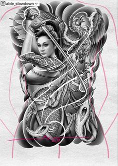 Japanese Phoenix Tattoo, Japanese Geisha Tattoo, Japanese Tattoo Designs, Tattoo Designs Men, Neck Tattoo For Guys, Tattoos For Guys, Samourai Tattoo, Black Dragon Tattoo, Geisha Tattoo Design