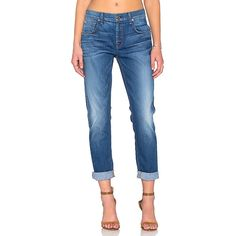 7 For All Mankind The Relaxed Skinny Denim ($198) ❤ liked on Polyvore featuring jeans, frayed jeans, denim skinny jeans, skinny jeans, blue jeans and relaxed fit jeans