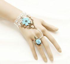 Sweet Lace Sakura Lolita Bracelet And Ring Set